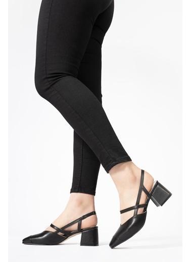 CZ London Hakiki Deri Sandalet Siyah